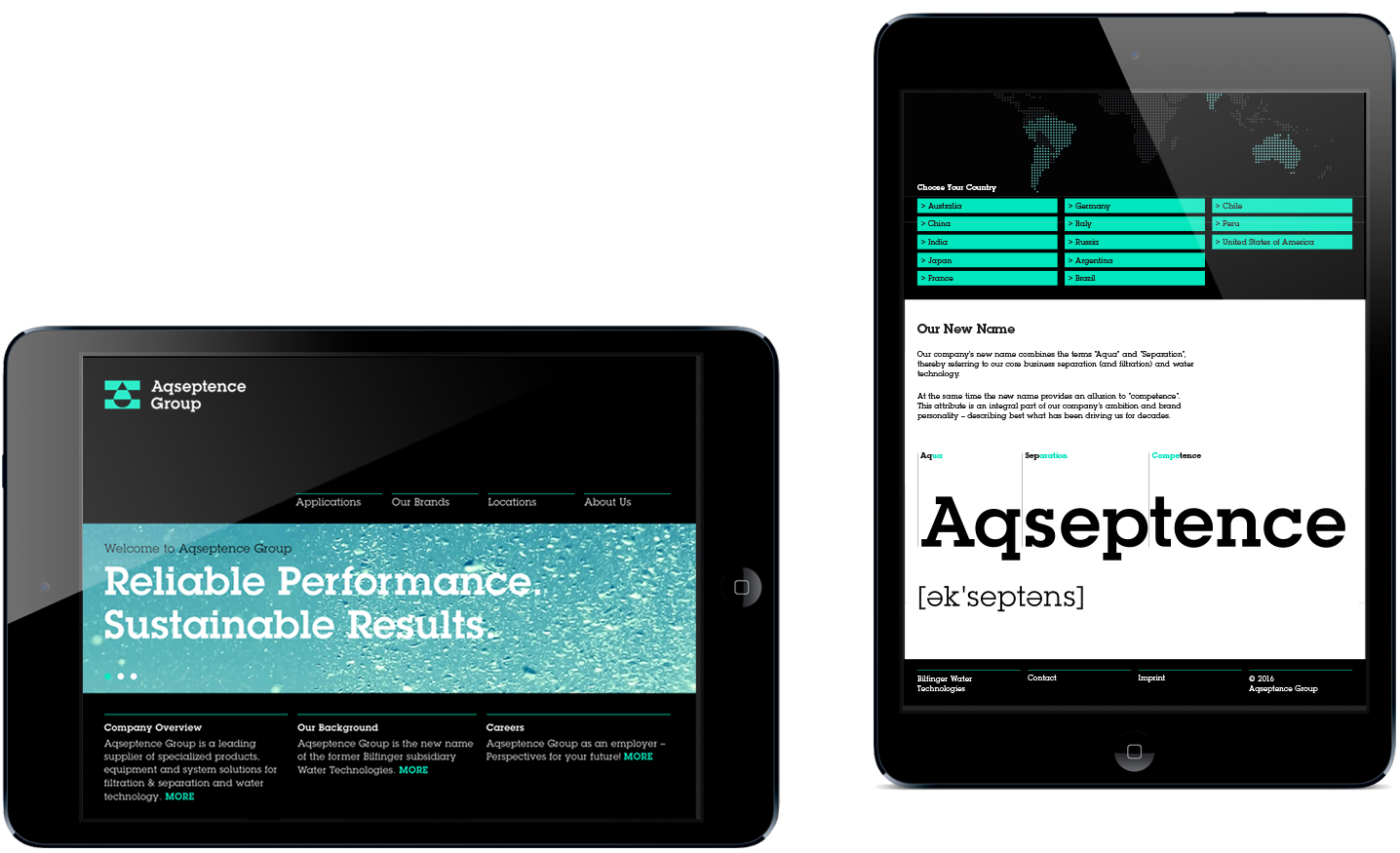 Aqseptence Website auf iPad