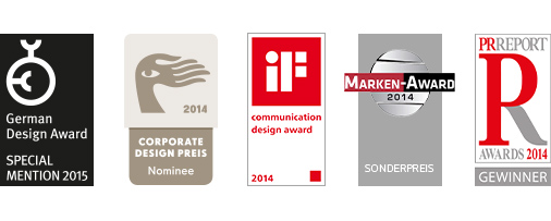 Bilfinger Awards – German Design Award Special Mention 2015, Corporate Design Preis 2014 Nominee, iF Communication Design Award 2014, Marken Award Sonderpreis 2014, PR Report Awards 2014 Gewinner