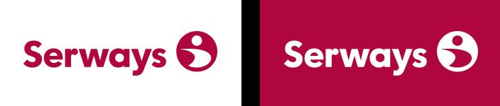 Serways Logo, farbig positiv und negativ